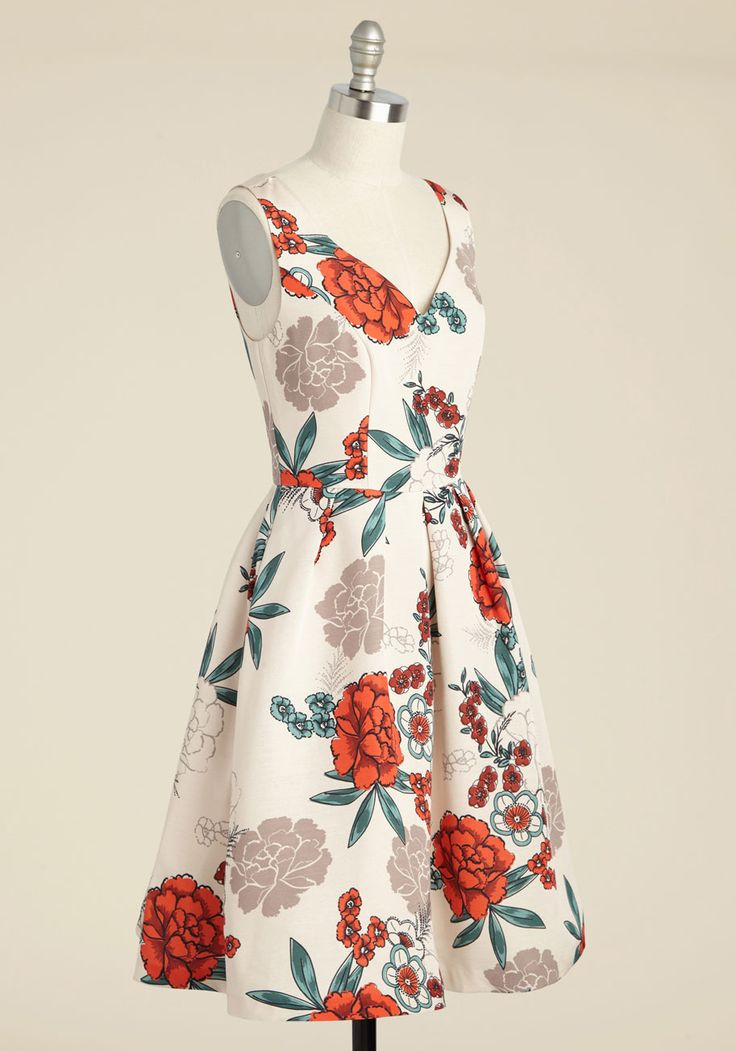 Elegant Excellence Floral Dress by ModCloth - Long, Fall, Woven, White, Multi, Floral, Print, Party, Daytime Party, Wedding Guest, Vintage Inspired, 40s, Fit & Flare, Sleeveless, Best, Exclusives, ModCloth Label, V Neck, Special Occasion, Pockets, Homecoming, Store 2 $140