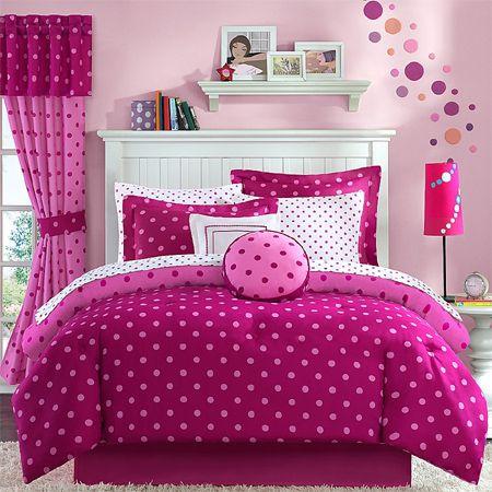 girl children kids teen duvet bedding pink polka dot