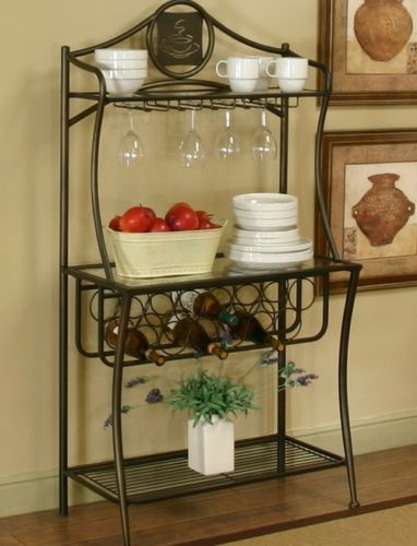 Bakers-Rack-With-Wine-Storage-Stand-Kitchen-Utility-Shelf-Display-Metal-Rustic