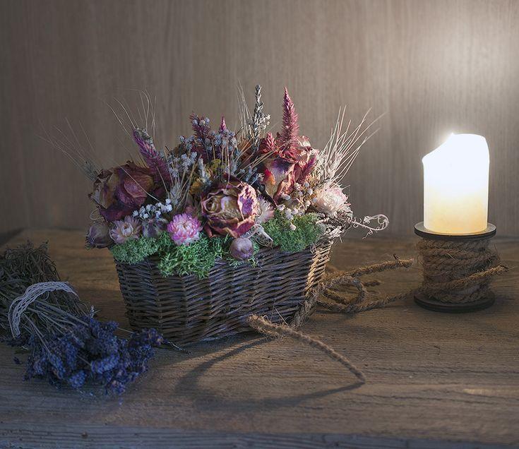 Roses, lavender, dry flowers in basket