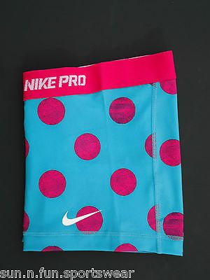 NEW!+Turquoise-Pink+Dot+Printed++S++NIKE+PRO+Women's+Dri-FIT+Shorts+Size+Small