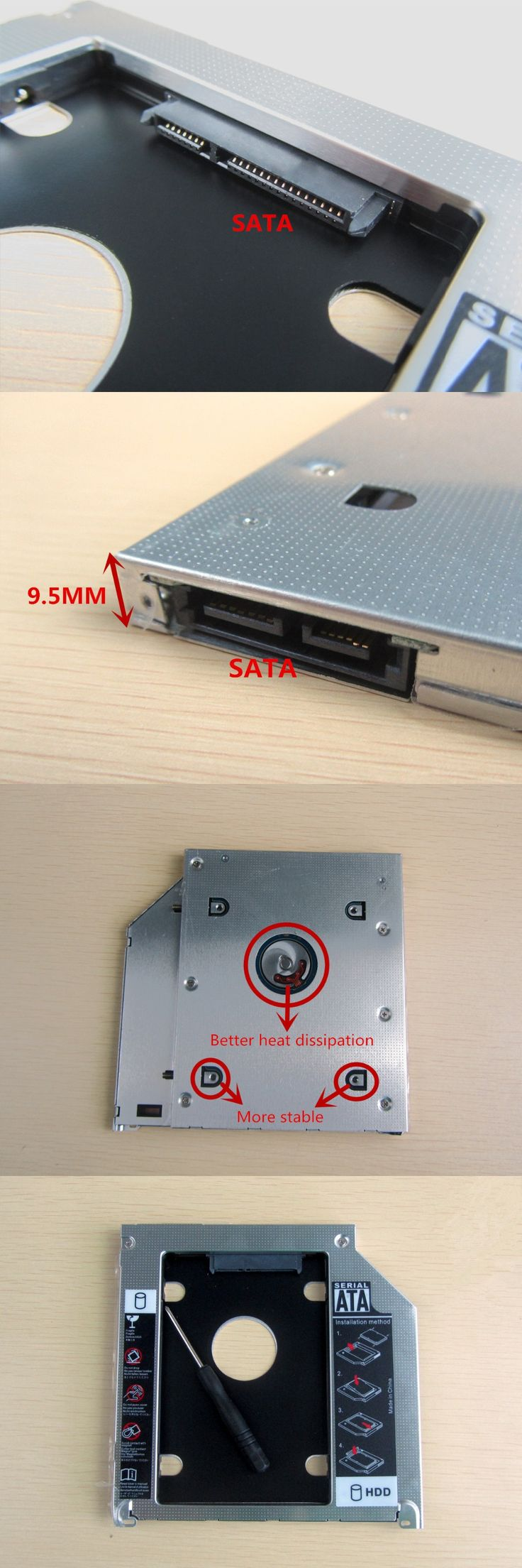 New for Universal For Apple Macbook Pro Optical bay 2nd HDD Hard Drive Caddy SATA 9.5mm Free Shipping