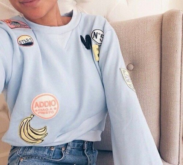 patch sweater blue fashion food girl style aesthetic tumblr bleu pull pullover tumblr shirt beautiful swag sweatshirt sweats teen girl pastel sweater