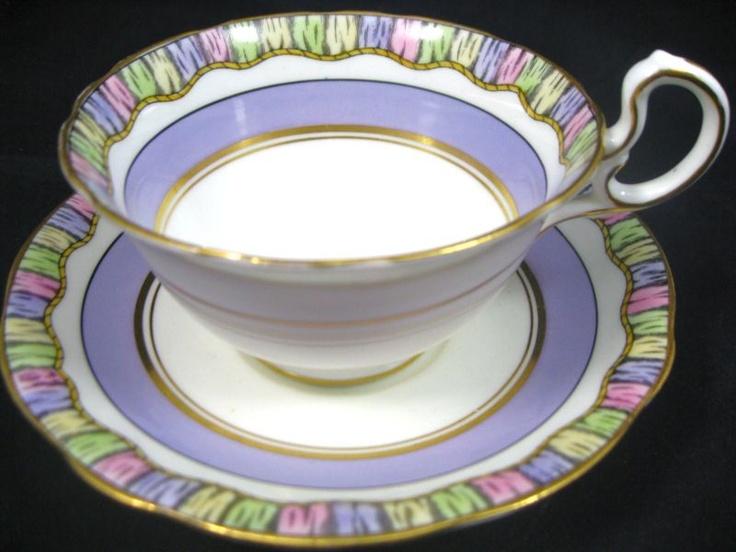 AYNSLEY LAVENDER ART DECO RAINBOW BAND TEA CUP AND SAUCER - unusual