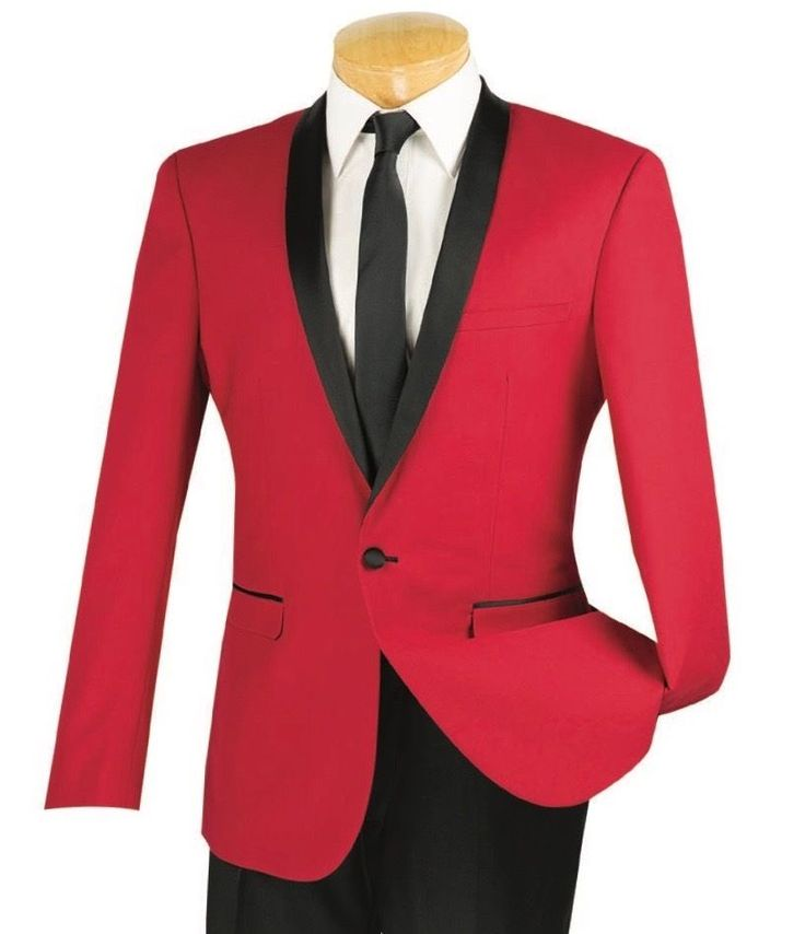 Men's Red Slim-Fit One Button Formal Tuxedo Suit NEW w/ FREE Shipping #suits #menswear #tuxedo #wedding #prom