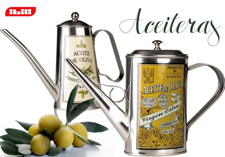 These elegant stainless steel cans make it a pleasure to serve olive oil to your family and guests!  A stylish stainless steel olive oil pourer. Great for the kitchen or using at the table and especially useful when buying olive oil in 3 or 5 litre tins. Capacity: 500 ml  #spanish #tableware