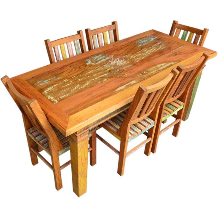 Mesa rústica colorida com 6 cadeiras em Peroba Rosa. Compre o conjunto ou separadamente! Fazemos sob medida!