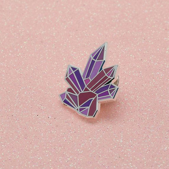 Pink & purple hued hard enamel gemstone pin, with butterfly clutch on the reverse. Teeny enough to adorn your bag, lapel, pocket or whatever you fancy.