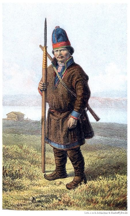 Per Olof Amundsson Länta, 27 years old. From Om Lappland och lapparne (About Lapland and the Lapps), by Gustaf von Düben, Stockholm, 1873.