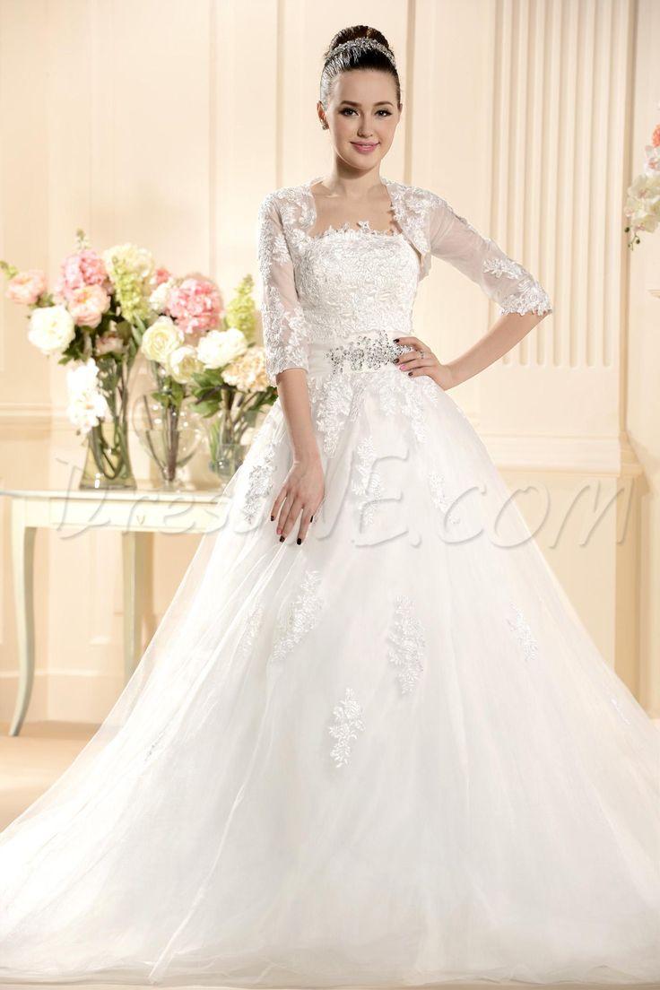 $174.39 Dresswe.comサプライ品ヴィンテージAラインストラップレスアップリケチャペルの列車のウェディングドレス
