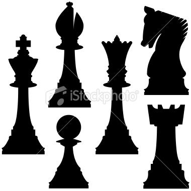 Chess pieces in vector silhouette Royalty Free Stock Vector Art Illustration
