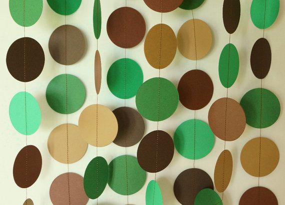 Camo Birthday Party, Camo Garland, Hunting Party Decorations, Camouflage Party, Boy's Birthday, 10 ft. Long Paper Circle Garland