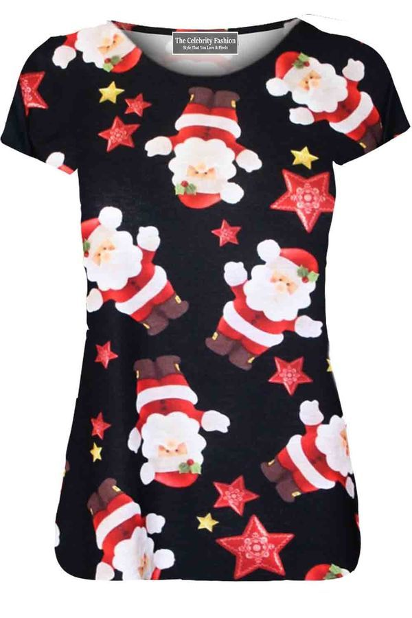 New Womens Santa Christmas T Shirt Kids Elf Novelty Xmas Cap Sleeve Party Top