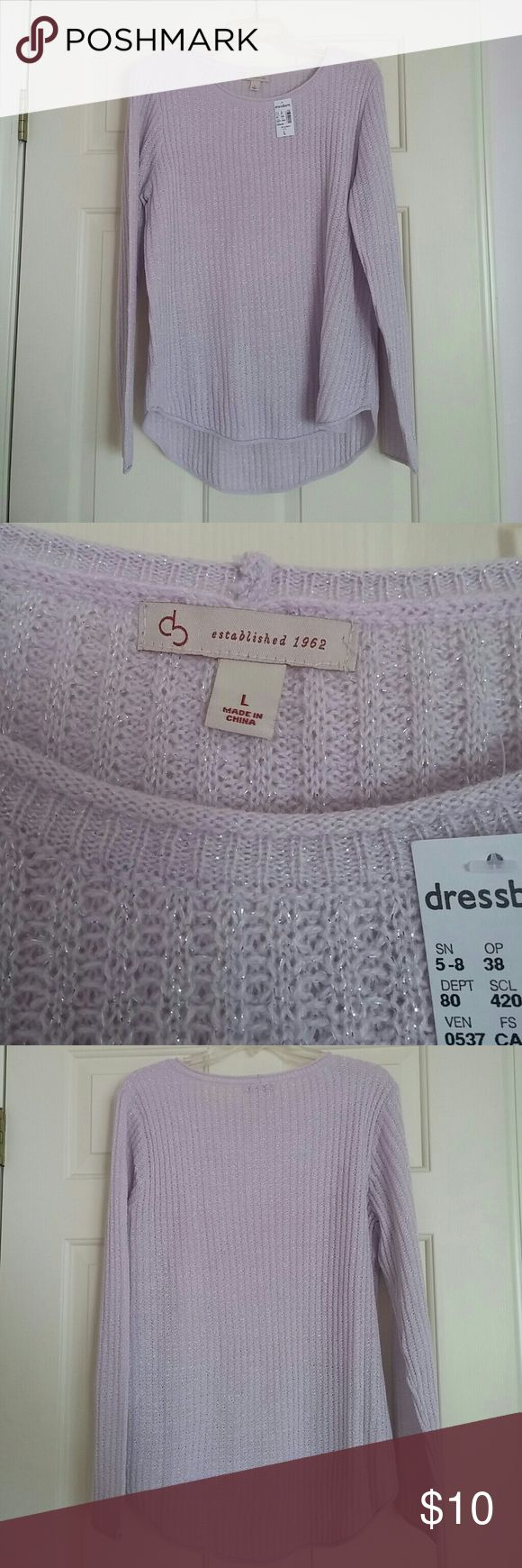 Sparkly light purple sweater Long sleeve light purple sweater. Received as gift, forgot to return. NWT Dress Barn Sweaters Crew & Scoop Necks