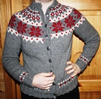 Handknitted jacket. Design and pattern by Tine Solheim