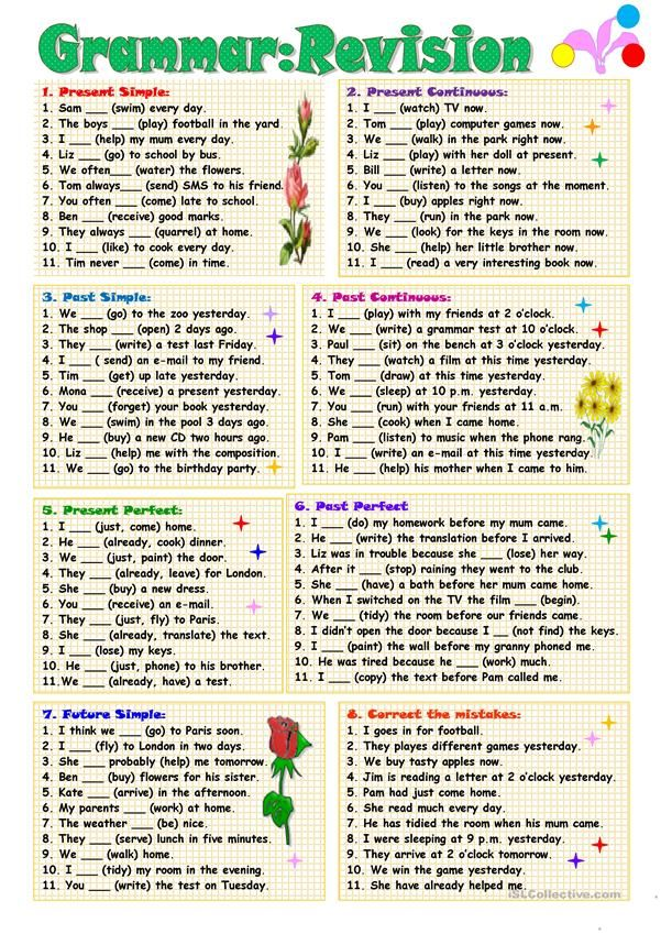 Eight workout routines for revising totally different tenses. Secret is included. Thanks!!!! – …