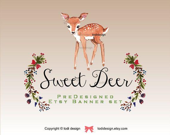 Sweet Deer    Autumn Season Banner set  Premade Etsy by todidesign
