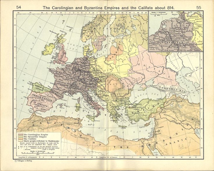 The Carolingian and Byzantine Empires and the Califate about 814 (1911), by William Shepherd (1871-1934).