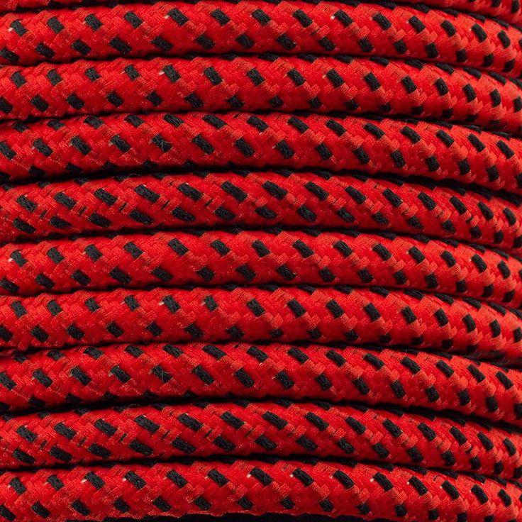 Comprar | Cable textil decorativo bicolor rojo y negro | Comprar cables textiles eléctricos decorativos de colores #iluminacion #decoracion #accesorioslamparas #lamparas #cablesdecolores