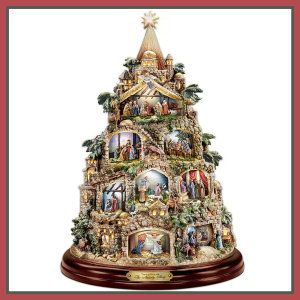 The Nativity Tree Tabletop Centerpiece Presented And Narrated By Thomas Kinkade by The Bradford Exchange This ceramic Christmas tree, tells the story of how Christ came to being. At the bottom, you see an angel with Mary. http://theceramicchefknives.com/ceramic-christmas-trees/