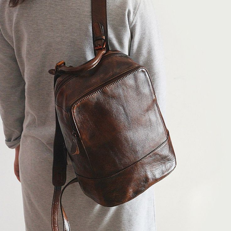 SALE!Chocolate Brown Leather Backpack/Brown Backpack Purse/Brown Purse/Casual Leather Backpack by FantabulousGal on Etsy