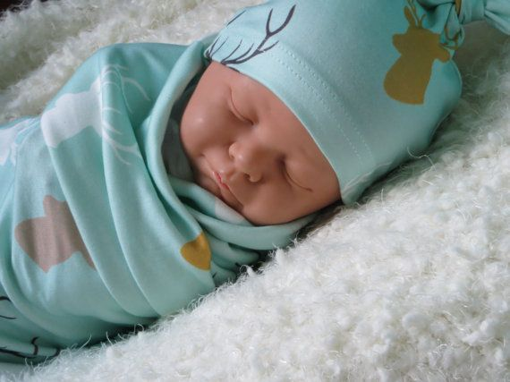 Organic Baby Swaddle Blanket With Matching Newborn Knot