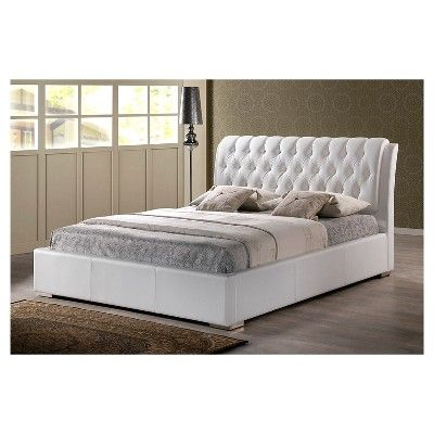 Bianca Modern Bed with Tufted Headboard White (Queen) - Baxton Studio