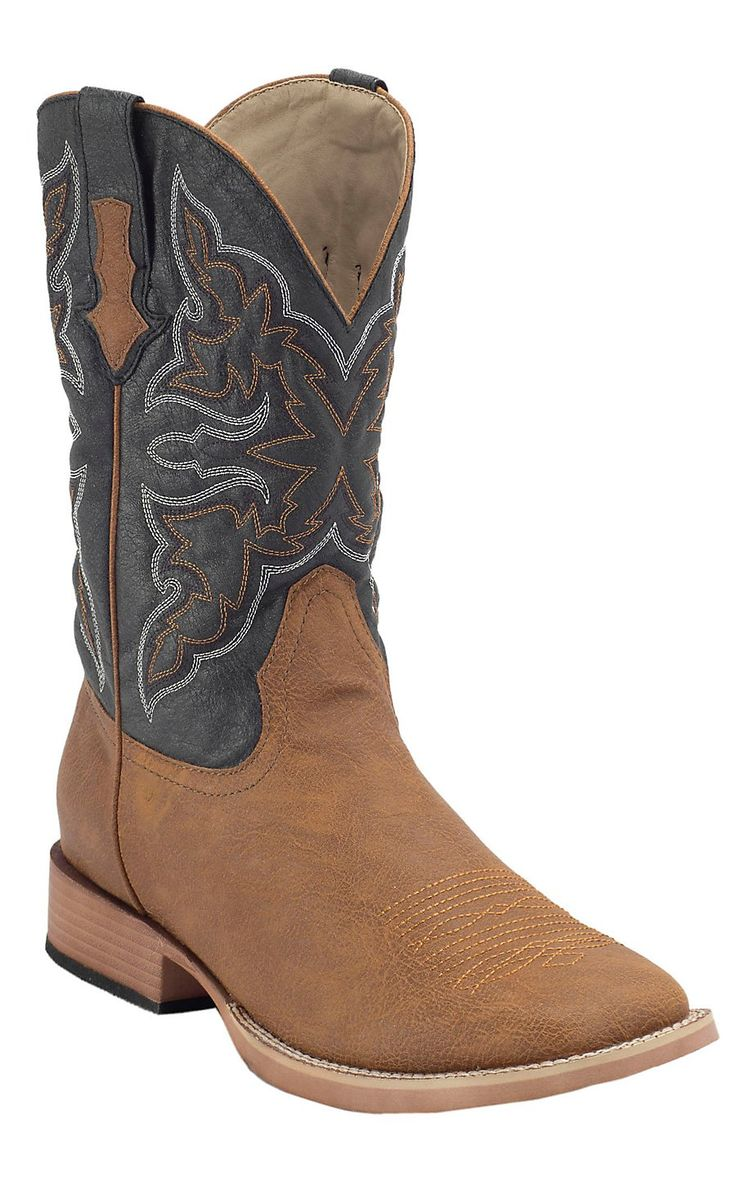 Roper Men's Tumbled Tan with Navy Top Square Toe Western Boot