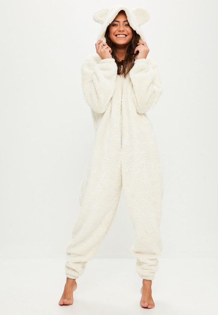 Missguided - Cream Teddy Bear Fleece Onesie