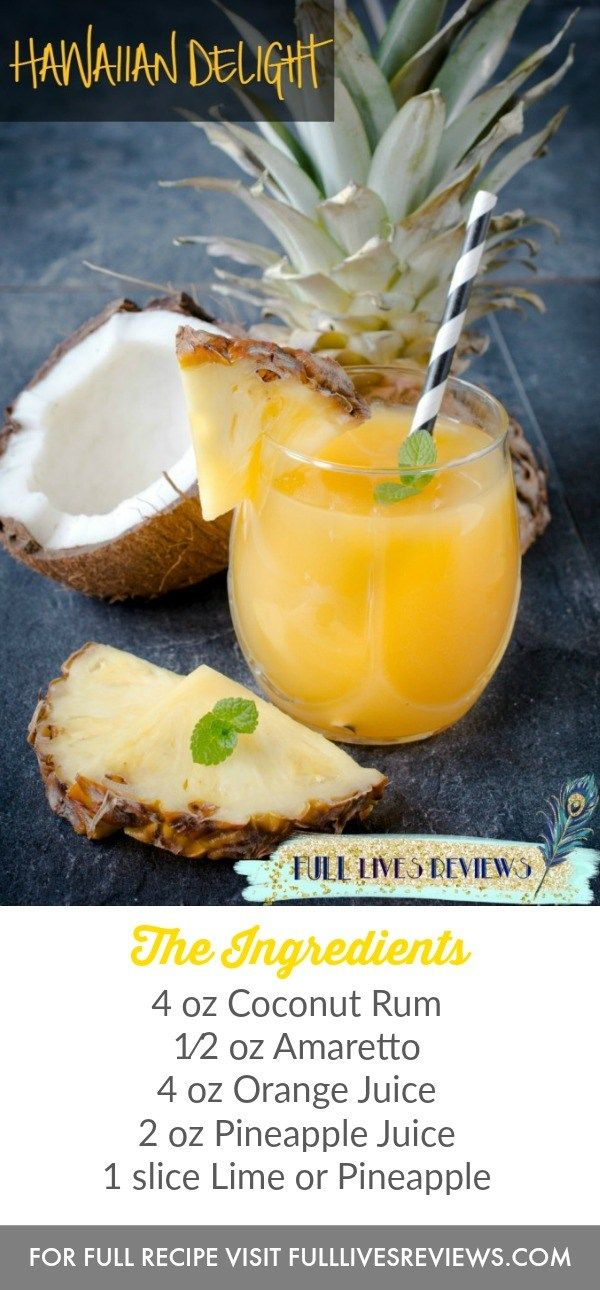 Hawaiian Delight- refreshing, simple coconut and pineapple summer cocktail recipe.
