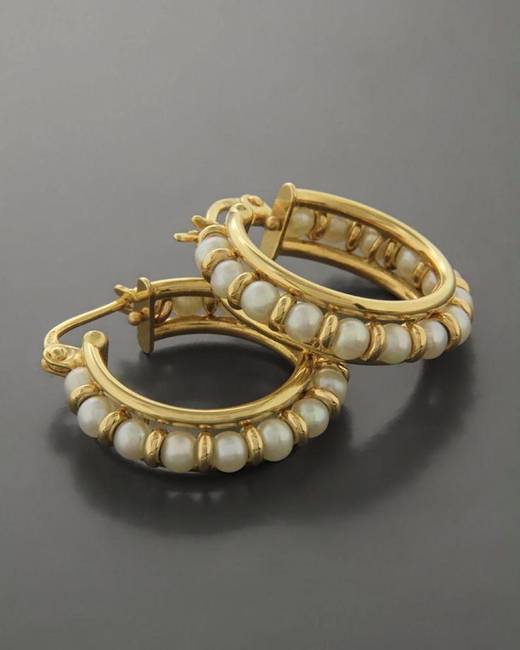 Σκουλαρίκια κρίκοι Χρυσά Κ14 με Μαργαριτάρια   eleftheriouonline.gr