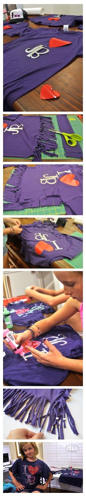 Justin Bieber styled shirt DIY...this is great, just not for Bieber...