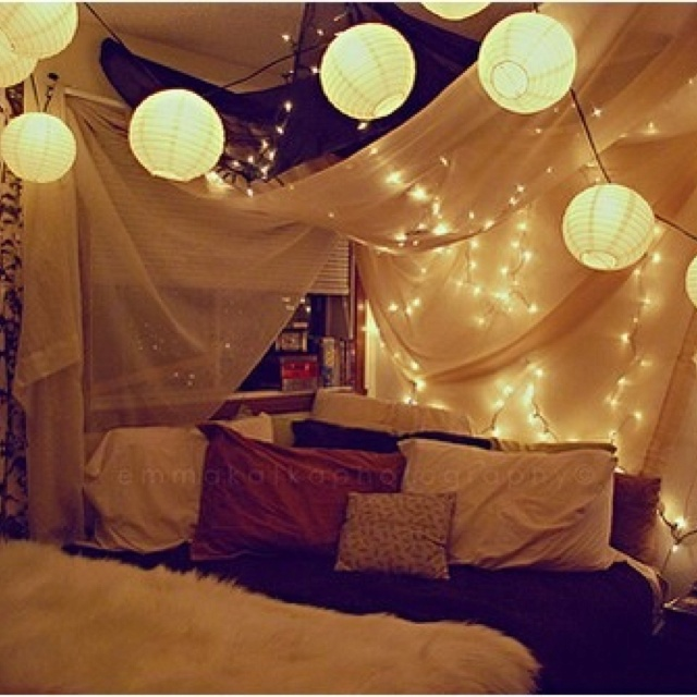 Canopy Ceiling And Paper Lanterns Bedroom Inspiration