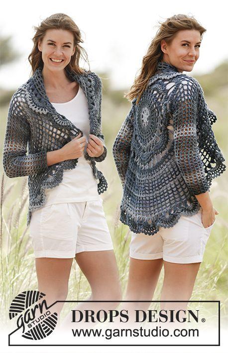 """Evening Tide - Gehaakt DROPS vest, in een cirkel gehaakt van """"Big Delight"""". Maat S-XXXL. - Free pattern by DROPS Design"""