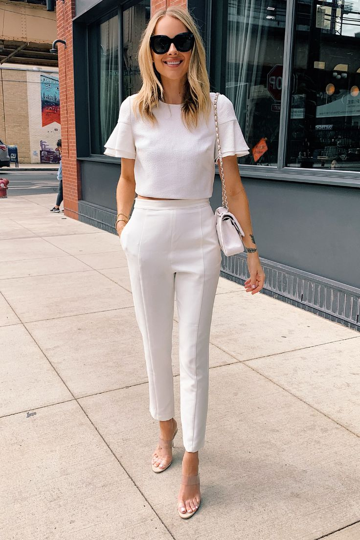 Fashion Jackson Wearing White Two Piecee Jumpsuit Clear Heels White Chanel Handb…