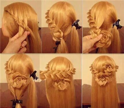 Rose Braid Hair Tutorial That S Clever Pinterest