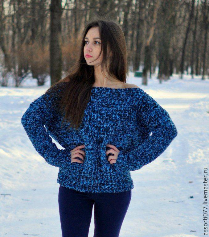 """Купить Кофта """"Синяя Акварель"""" - разноцветный, синий свитер, мелланж, Яркая одежда, женская одежда"""