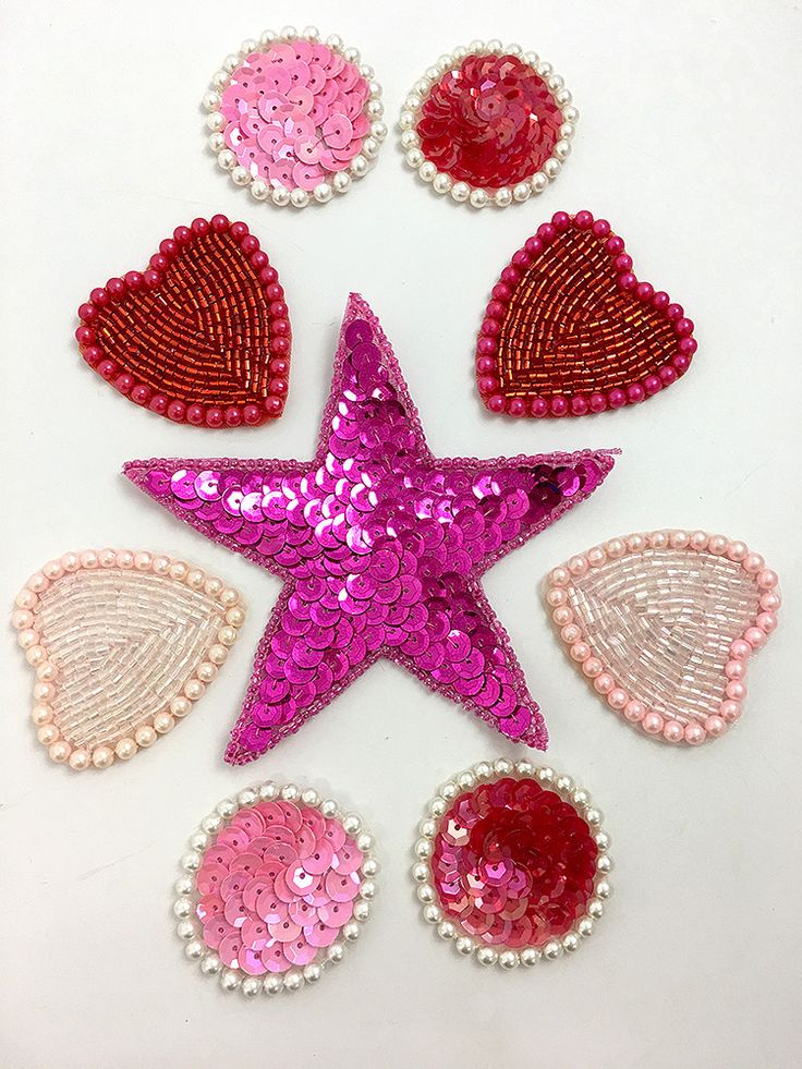 """Assortment, Hearts, Dots and Star, Sequin Beaded, 1.5"""" - 4"""""""