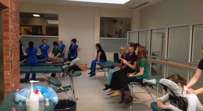 MaKami students #massaging at the Glenrose Hospital