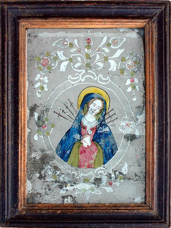 Schmerzensmutter, Spiegelhinterglasbild  mit Ätzung, Böhmen/Schlesien, 19. Jahrhundert, Rahmen 19 x 25 cm Innen 14,2 x 21,6 cm