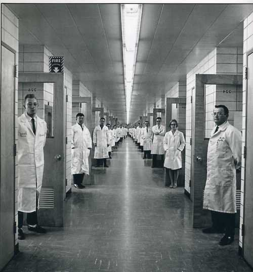 Picture of doctors in an insane asylum.   Very odd. 'They're comming to take me away ah ha...'