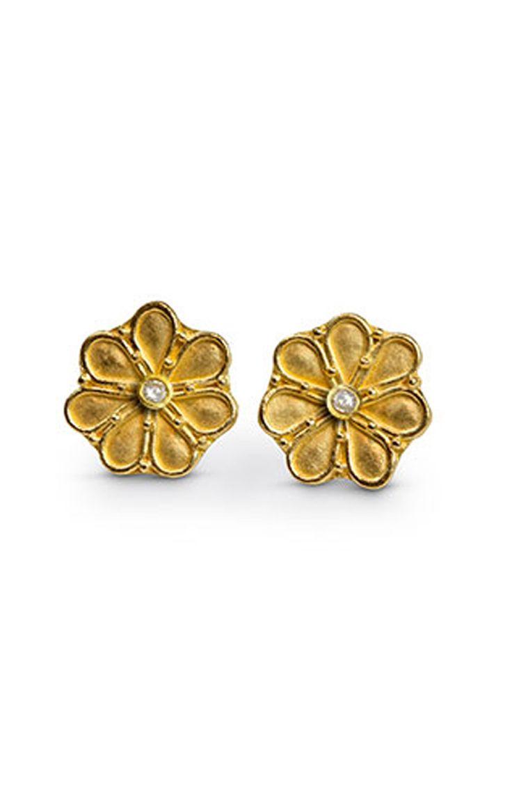 Diamond Granulated Rosette Earrings  http://www.nancytroske.com/product/diamond-granulated-rosette-earrings/