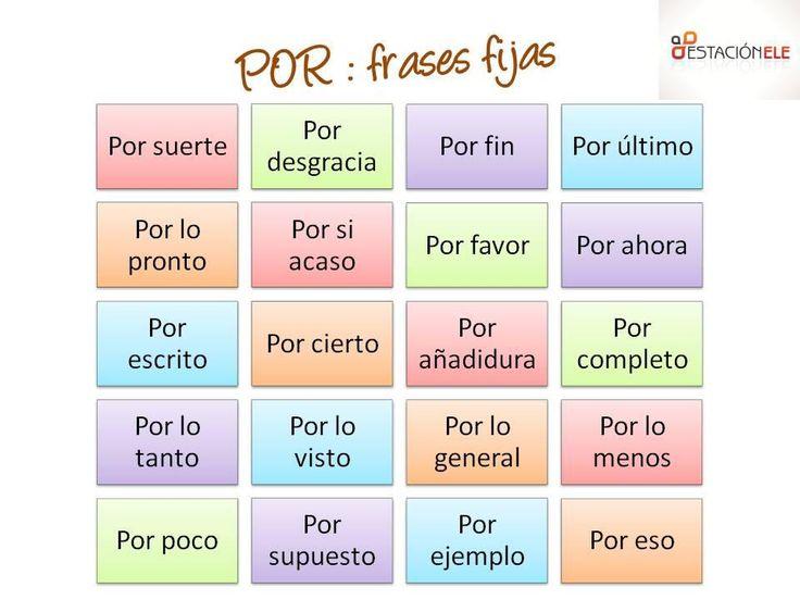 "Frases fijas con ""por"".   VeinteMundos tu revista gratis para aprender español"