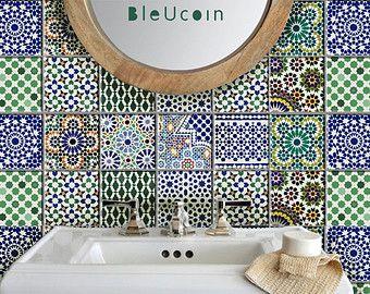 carrelage / mur style Tin décalcomanies: 4 dessins X par Bleucoin