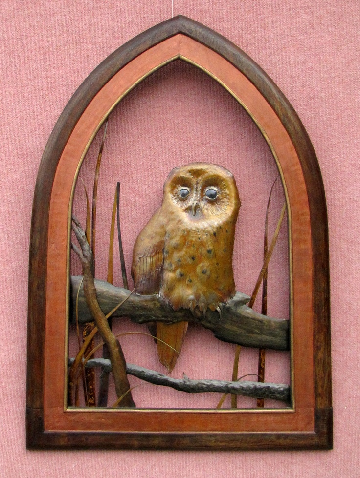 Copper Owl and Wooden frame, made in New Zealand by Merv Sarson $2090 NZD. To find out more details, purchase or find out shipping costs follow the link below http://coolstoregallery.co.nz/sculptures/MervSarson_Sculpture_Birds.htm