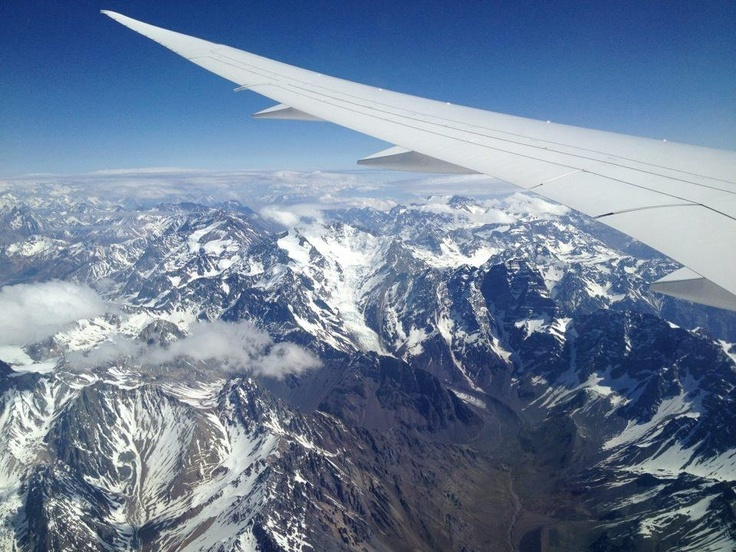 Flying above the mighty Andes Mountain Range, Chile South America
