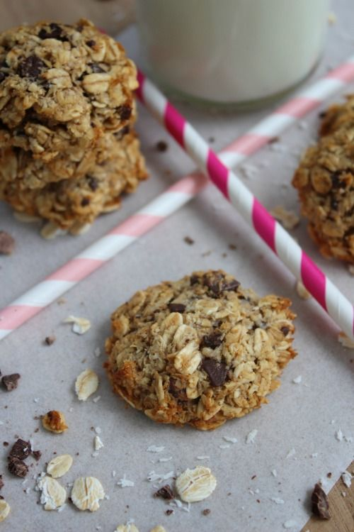 wholesome coconut chocolate chip oat cookies...I swapped the choco chips for pecans and dried fruit!