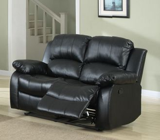 Homelegance Cranley Collection Black Bonded Leather Reclining Loveseat 9700BLK-2