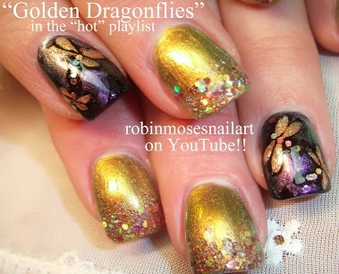 Golden Dragonfly Nail Art by Robin Moses