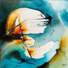 "Warren Mack ""Solar Constant - 5 am"" ink on canvas 10"" x 10"""